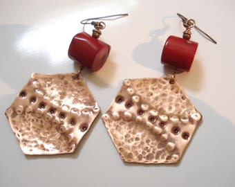 Hammered Copper Patina Big Red Coral Earrings Unique Modern Coral and Copper Earrings  Geometrical Antique Faced Contemporary Earrings