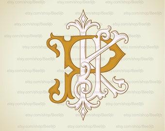 Vintage Monogram KPJ | Wedding logo | Wedding Clip Art