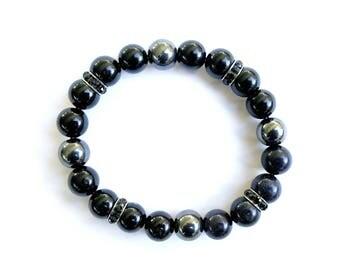 Handmade Black Onyx & Hematite Bracelet