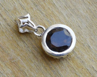 Natural Brown Smoky Quartz Gemstone Pendant - Little Smoky Sterling Silver Pendant - Handmade Artisan Smoky Silver Chain Necklace