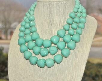 Aqua Mint necklace, multi strands, chunky, handmade gift idea idea, gift for her.