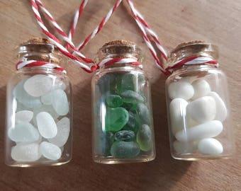 SEA GLASS DECORATIONS ~ Set Of 3 Christmas Tree Hanging Decorations Seaham Sea Glass ~ White Green Milk Glass English Seaglass