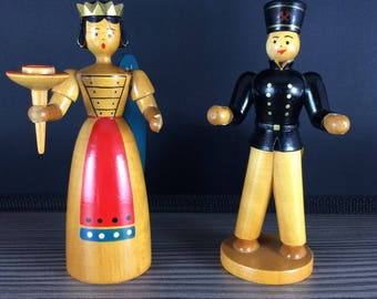 Set of 2 Vintage Wooden Candlesticks Angel and Miner Erzgebirge Wood Christmas Ornament Figure German