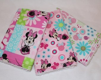 Minnie Mouse Burp Cloths Set, Burp Rags, Burp Cloths, Baby, Minnie Mouse, Minnie Mouse Burp Cloths, Baby Shower Gifts, Disney Baby