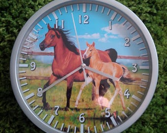 clock wall pattern horse Mare and foal