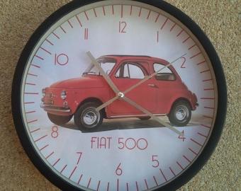 Horloge murale motif voiture fiat 500 bleue for Deco murale fiat 500