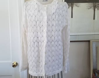 """Vintage White """"Lacey"""" Cardigan.  Made in the Philippines"""