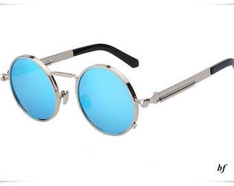 Round sunglasses men silver with blue  lens sunglasses women summer accessories UV400