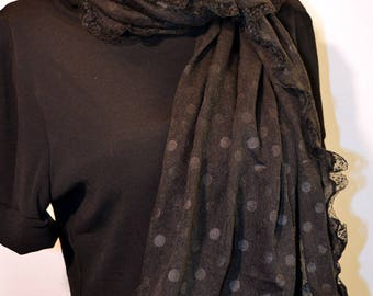 black scarf with dots