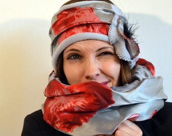 grey headband with blak and red satin