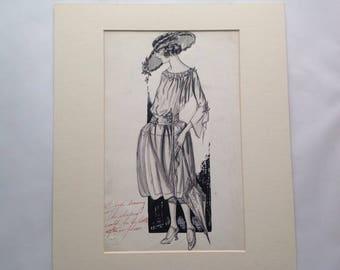 Vintage Original Fashion Drawing, April 1922, Maryiette Volsang Boston Massachusetts Haute Couture 1920s Dress design