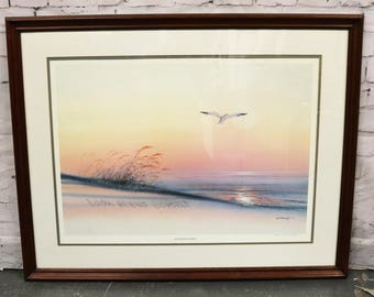 "M.S. Franco Look Beyond Yourself Beach Seascape Print 35"" x 28"" #154/300 Seagull"