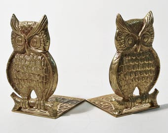 Pair of Vintage Brass Owl Shaped Bookends
