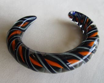 Blown Glass Multi Colored Blue Cuff Bracelet  Gift for Woman, Gift under 20 Orange black