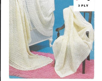 PDF vintage knitting pattern for 3 shawls.  3 ply wool.  2 square shawls and one round shawl.