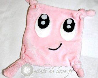 Flat plush with big eyes color pink