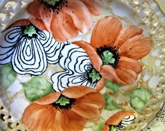 Poppy Plate Hand Painted Porcelain Ceramic Pottery Kitchen Home Decor blm
