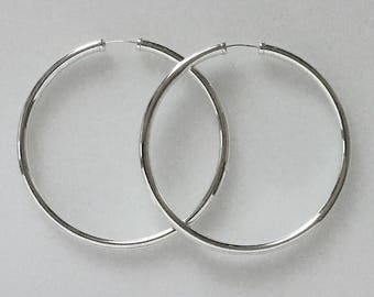 Real 925 Sterling Silver Hoop Earrings 50mm Plain with Capped Ends