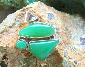 "Australian Chrysoprase Sterling Silver Pendant ~ ""Stone of Good Fortune & Protection"""