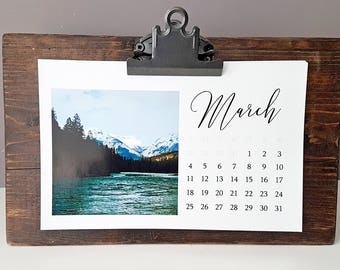 Reclaimed Wood Desktop Calendar with clipboard clip