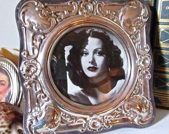 Antique English Silver Picture Frame on Velvet