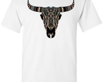 Native American Design Buffalo Skull Men's White T shirt