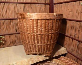 XLarge Vintage Chinese Bamboo  Basket Container Storage Tortoise Burn