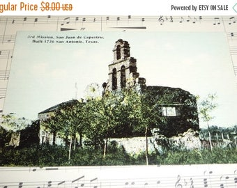 ON SALE till 7/28 View of Mission San Juan Capistrano, San Antonio, Texas  Built in 1726 Unused Antique Postcard