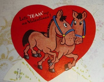 ON SALE till 7/28 Let's TEAM Up as Valentines A-meri-card Vintage Horses Valentine Card