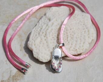 Sterling Silver flip flop neckace, vintage flip flop charm, pink necklace, crystal flip flop, pink satin necklace, silver pink crystal charm
