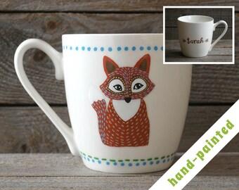 fox coffee mug hand painted/ fox gift/ birthday mug/ animal mug/ woodland gift/ personalized mug/ fox lover gift/ fox coffe mug/ fox art