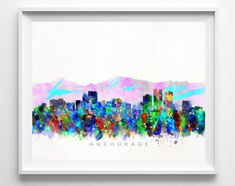 Anchorage Skyline Print, Alaska Print, Anchorage Poster, Alaska Cityscape, Watercolor Painting, Wall Art, Wall Decor, Valentines Day Gift