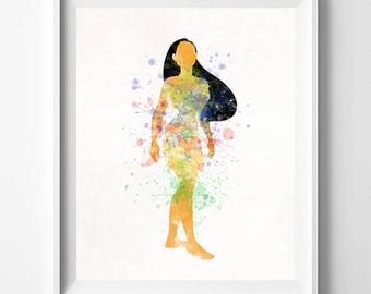 Pocahontas Art, Pocahontas Print, Disney Princess, Disney Gift, Nursery Art, Gift Idea, Disney Art, Watercolor, Painting, Valentines Day