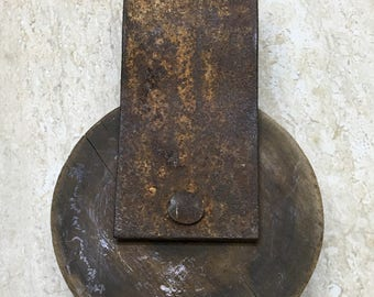 Antique Wood And Metal Pulley
