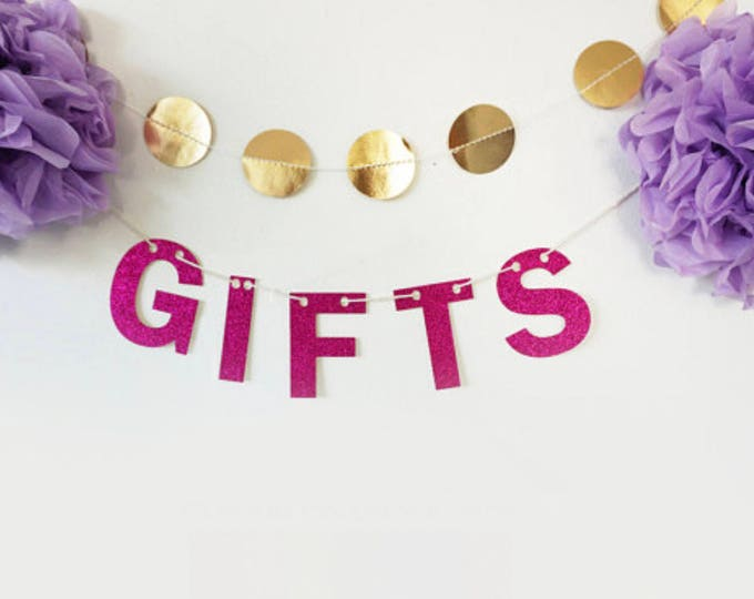 Gifts Glitter Banner - Bachelorette Party, Wedding Garland, Bridal Shower, Glitter Decoration, Holiday Banner, Cheers Banner