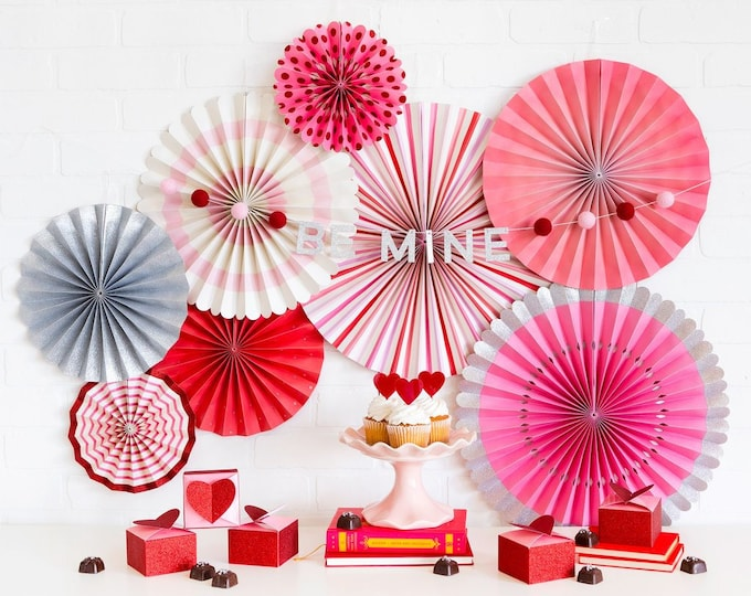 Valentine's Day Party Fans, Pink White and Silver Fans, Valentine's Day Party, Valentine's Day Decor, Pom Wheels and Rosettes,