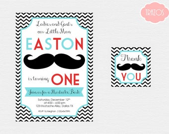 Mustache Birthday - Mustache Invitation - Mustache Thank You Tags - PRINTABLES