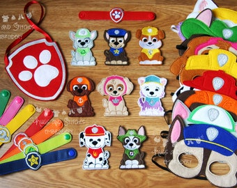 Personalised Ultimate Paw Patrol Inspired pack | Masks | Finger Puppets | Bracelets | Rescue Puppies Masks | Puppie Heroes