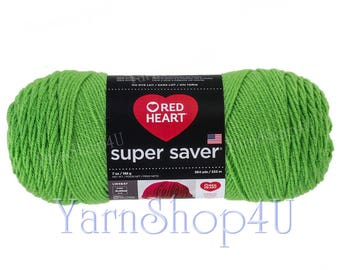 SPRING GREEN, Red Heart Super Saver. A bright Green. Solid Lime Green. 100% Acrylic. A Large 7oz | 364yd. Aran Weight. Heavy Worsted.