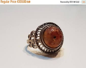 SALE15% Old Amber Ring from Uzbekistan, Uzbek silver ring, Amber ring, Central Asia jewelry