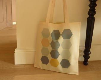 Bag Tote bag geometric hexagonal 100% cotton