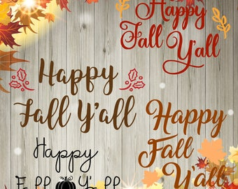 SVG: Happy Fall Y'all Bundle (4)| vector| cutting image| autumn|PNG