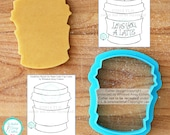 Whimsical Paper Latte Coffee Cup Cookie Cutter and Fondant Cutter - **Guideline Sketches to Print Below**