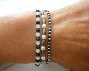 Pattern YING & YANG trio of bracelets worn together or separately