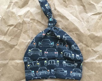 Organic baby boy hat. Knot hat. Car print boy hat. Headlamps in navy. Baby boy hat. Organic interlock knit hat. New baby hat. Take home baby