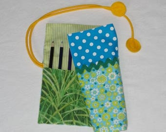 Pencil case - Turquoise / grass green