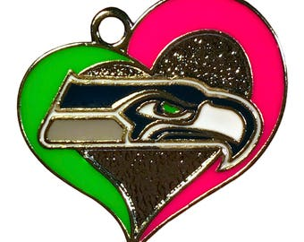 SEATTLE SEAHAWKS (25) Pink HEART Charms quantity of 25