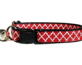 Red Cat Collar / Breakaway Cat Collar / Cat Collar Bell / Red Dog Collar / Puppy Collar / Kitten Collar / Kitty Collar / Cute Cat Collar