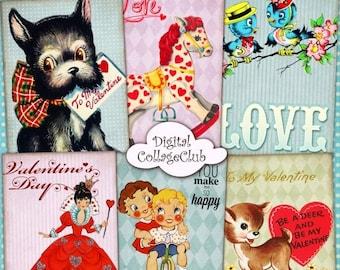 80% Off Easter Sale - Retro Valentine Vintage Valentines Day Digital Collage Sheet Jewelry Holder Digital Background Valentine ATC Cards ACE