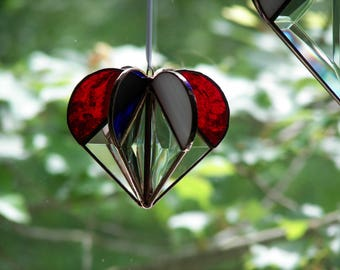 Stained Glass Heart Red White and Blue, Patriotic Heart, Patriotic Suncatcher, Patriotic Stained Glass, Red White and Blue Suncatcher